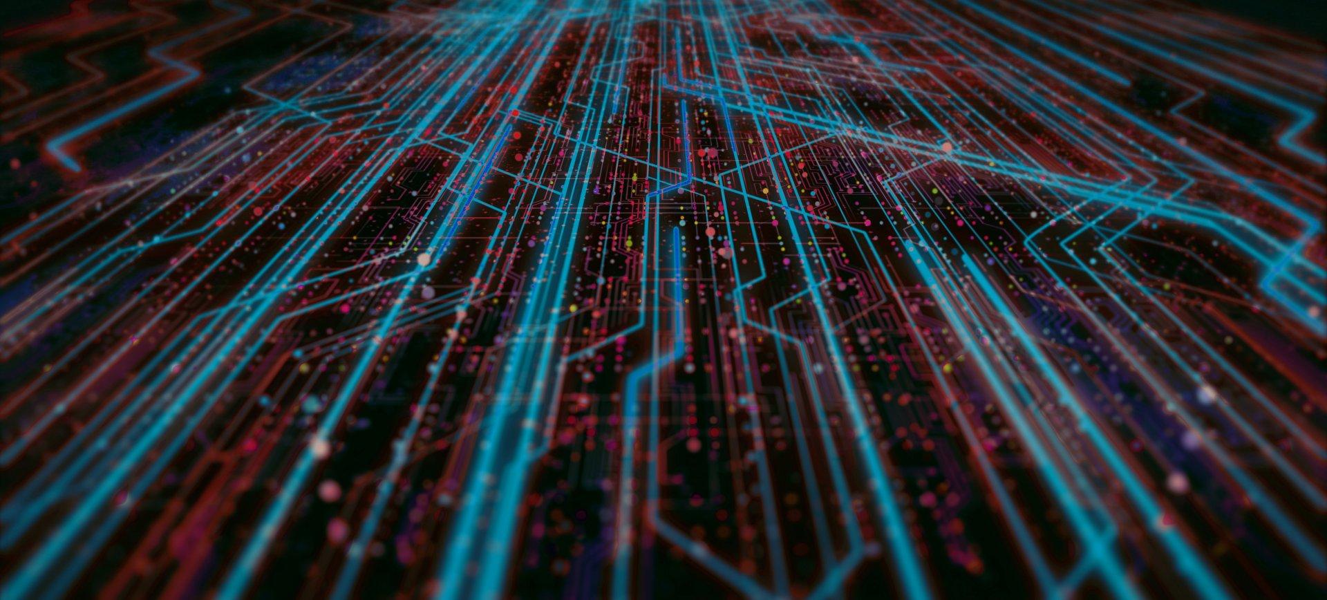 Blue data flowing across a circuit board