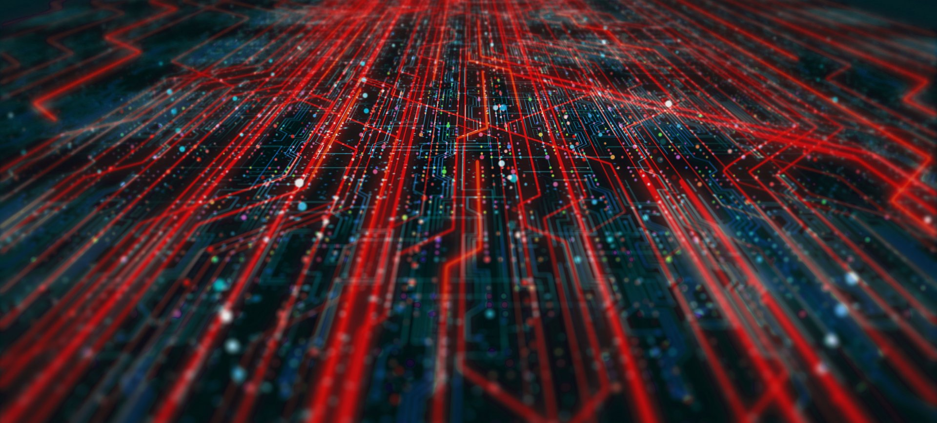 Red data flowing across a circuit board