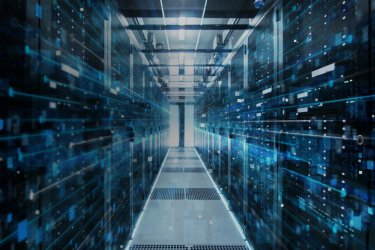 Data flowing digitally in a data centre