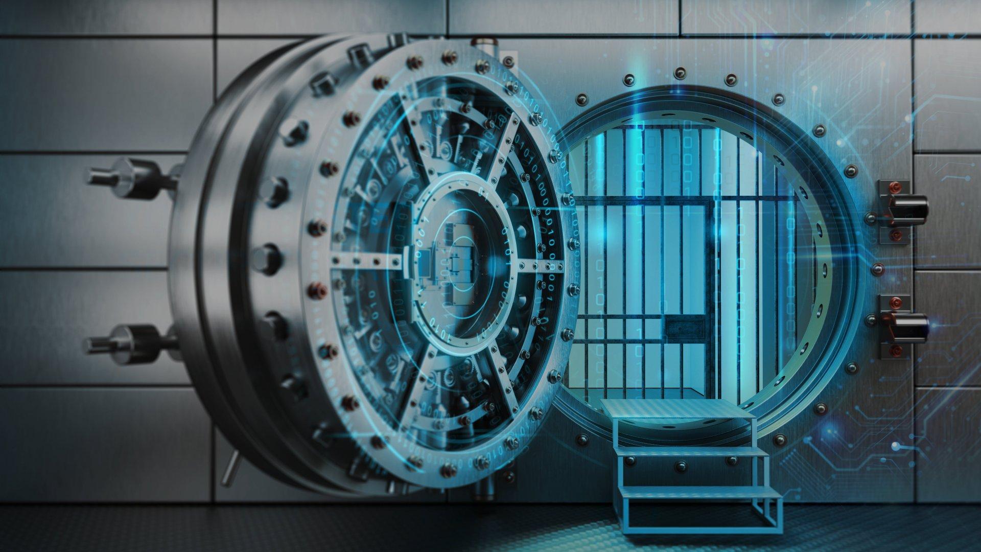 A digital bank safe with door open